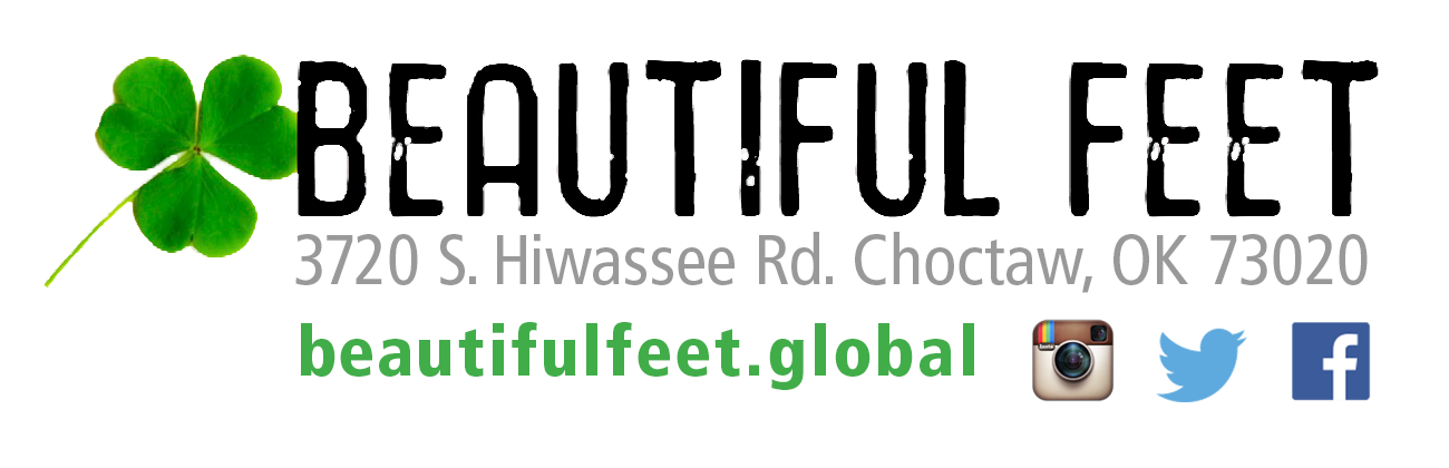 Beautiful Feet logo with address, URL and social media