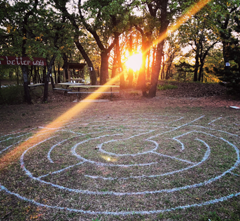 prayer labyrinth at sunset